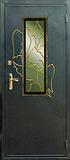 Дверь со стеклопакетом и ковкой