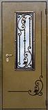 Двери в дом с ковкой и стеклом
