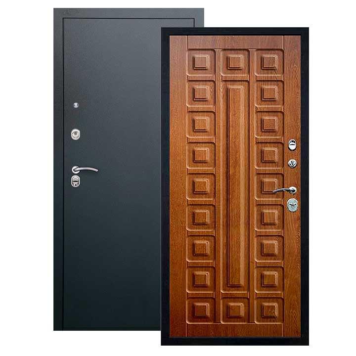 Дверь Сенатор панель золотой дуб, покрытие черный шелк
