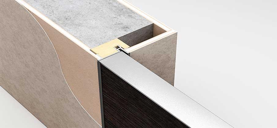 Разрез скрытой двери - конструкция.